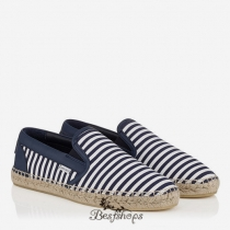 Jimmy Choo Uniform Blue and Ultra White Striped Cotton Espadrilles BSJC9124528