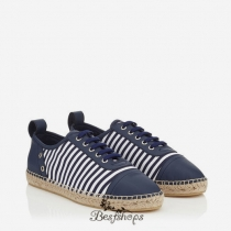 Jimmy Choo Uniform Blue and Ultra White Striped Cotton Espadrille BSJC9870028