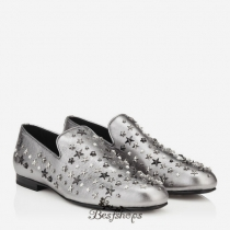 Jimmy Choo Silver Mix Metallic Leather with Stars Slippers BSJC9884748