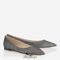 Jimmy Choo Anthracite Lamé Glitter Fabric Pointy Toe Flats BSJC7686928