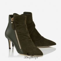 Jimmy Choo Army Green Suede and Calf Ankle Booties 65mm BSJC9812358