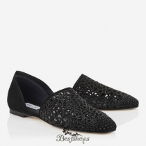 Jimmy Choo Black Laser Perforated Suede Flats with Crystals BSJC7418474
