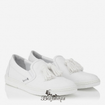 Jimmy Choo White Sport Calf Slip On Tasselled Trainers BSJC7411128