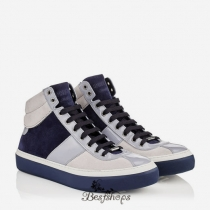 Jimmy Choo White, Uniform Blue and Ice Grey Suede and Patent High Top Trainers BSJC9626128