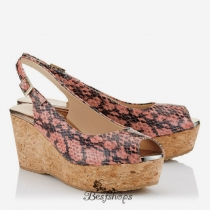 Jimmy Choo Ballet Pink Shiny Snake Print Leather Cork Wedges 70mm BSJC7189628