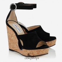 Jimmy Choo Black Suede Cork Wedges with Cut out 120mm BSJC7459994