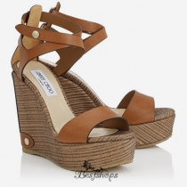 Jimmy Choo Canyon Leather and Striped Mesh Cork Wedges 120mm BSJC7422718