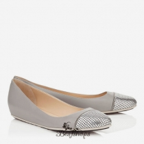 Jimmy Choo Dove Leather with Metal Mesh Ballet Flats BSJC7411472