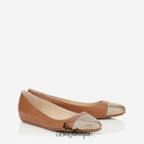 Jimmy Choo Dove Leather with Metal Mesh Ballet Flats BSJC6833628