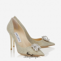 Jimmy Choo Gold Lamé Glitter Pumps with Crystal Detail 100mm BSJC7365228