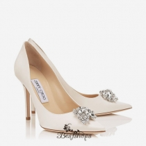 Jimmy Choo Ivory Satin Pointy Toe Pumps with Crystal Detail 100mm BSJC7321628