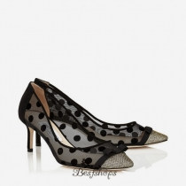 Jimmy Choo Lamé Glitter and Polka Dot Mesh Pointy Toe Pumps 60mm BSJC7167474