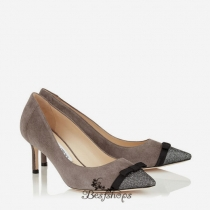 Jimmy Choo Lamé Glitter and Taupe Grey Suede Pointy Toe Pumps 60mm BSJC0068628