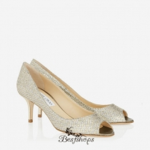 Jimmy Choo Champagne Glitter Fabric Peep Toe Pumps 50mm BSJC7136728
