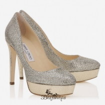 Jimmy Choo Champagne Glitter Fabric Platform Pumps 100mm BSJC7411878