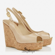 Jimmy Choo Nude Patent Leather Sling Back Peep Toe Wedges 120mm BSJC7399174