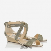 Jimmy Choo Light Bronze Lamé Glitter Fabric Wedge Sandals BSJC7411188