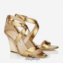 Jimmy Choo Light Honey Mirror Leather Wedge Sandals 100mm BSJC7411728