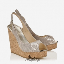Jimmy Choo Light Khaki Metallic Printed Suede Cork Wedges 140mm  BSJC7428528