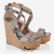 Jimmy Choo Natural Snake Print Leather Cork Wedges 160mm BSJC7417728