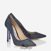 Jimmy Choo Navy Crackly Glitter Fabric Pointy Toe Pumps 100mm BSJC7416744