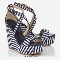 Jimmy Choo Navy and Optic White Striped Cotton Cork Wedges 120mm BSJC7435228