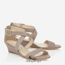 Jimmy Choo Nude Glitter Printed Leather Wedge Sandals 70mm BSJC7335228
