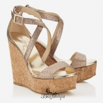 Jimmy Choo Nude Metallic Foiled Grained Leather Cork Wedges 120mm BSJC7413798