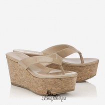 Jimmy Choo Nude Patent Leather Cork Wedges 70mm BSJC7413288