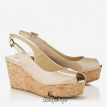 Jimmy Choo Nude Patent Leather Sling Back Peep Toe Wedges 100mm BSJC7467774