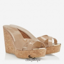 Jimmy Choo Nude Patent Leather Wedge Sandals 100mm BSJC7414118