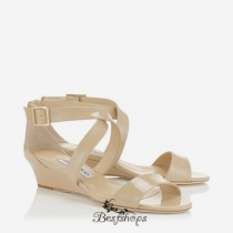 Jimmy Choo Nude Patent Leather Wedge Sandals BSJC7422228