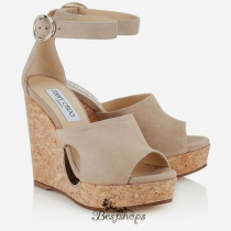 Jimmy Choo Nude Suede Cork Wedges with Cut out 120mm BSJC7428528