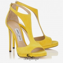 Jimmy Choo Pop Yellow Suede T-Bar Sandals 120mm BSJC7414612
