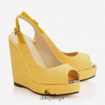 Jimmy Choo Pop Yellow Woven Raffia Wedged Sandals 140mm BSJC3360628