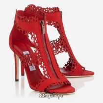Jimmy Choo Red Laser Perforated Suede Sandals 100mm BSJC7422738