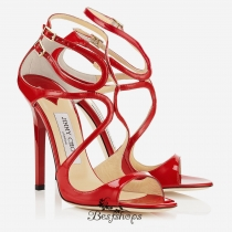 Jimmy Choo Red Patent Leather Strappy Sandals 120mm BSJC7321538