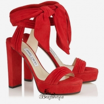 Jimmy Choo Red Soft Suede Platform Sandals 120mm BSJC7427428