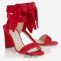Jimmy Choo Red Soft Suede Sandals 85mm BSJC1678474