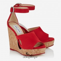 Jimmy Choo Red Suede Cork Wedges with Cut-out 120mm BSJC2813628