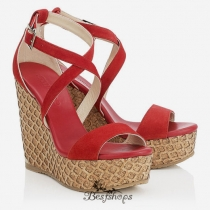 Jimmy Choo Red Suede Lasered Cork Covered Wedges 120mm BSJC7485528