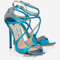 Jimmy Choo Robot Blue Mirror Leather Sandals 100mm BSJC7209628