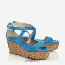Jimmy Choo Robot Blue Suede Lasered Cork Covered Wedges 70mm BSJC7497434
