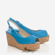 Jimmy Choo Robot Blue Suede with Lasered Cork Covered Wedges 70mm BSJC7575628
