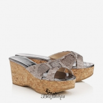 Jimmy Choo Snake Print Leather Cork Wedges 70mm BSJC7474899