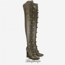 Jimmy Choo Army Green Leather 95mm Over the Knee Boots BSJC9874628