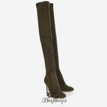 Jimmy Choo 100mm Army Green Stretch Suede Over the Knee Boots BSJC9874128
