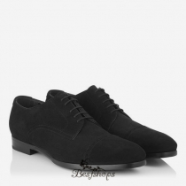 Jimmy Choo Black Dry Suede Lace Up Shoes BSJC9584528