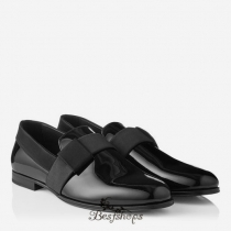 Jimmy Choo Black Patent Leather Formal Slippers with Satin Ribbon BSJC9873621