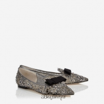 Jimmy Choo Anthracite Lace Crystal and Pearl Embellished Pointy Toe Flats with Bow Detail BSJC4804125